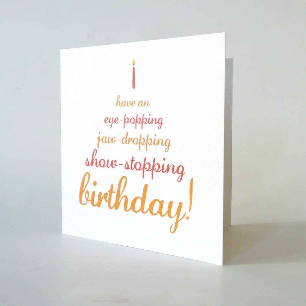Funny Birthday Card Cute Vintage Typography Cake Candle