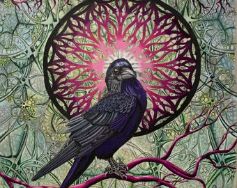 Nevermore, 16x20 print, double matted, limited edition, hand signed, frame ready, standard size, Raven, Poe's Raven, mandala, raven artwork