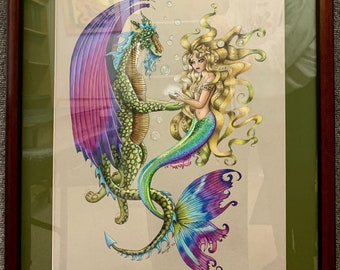 Mermaid's Tears, OOAK, prismacolor, colored pencil, drawing, 22x26, matted and framed, Mermaid and dragon, dragon receiving tears,