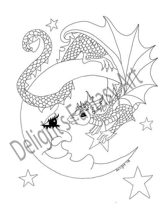 Hi There Kolorowanki Dla Doroslych Dragon Art Kolorowanki Etsy