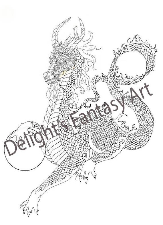 Kolorowanie Smoka Kolorowanki Dragon Czarno Biale Rysunek Etsy