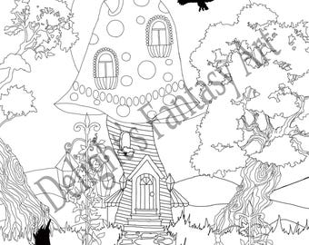 By the Light of the Moon. An adult coloring page.