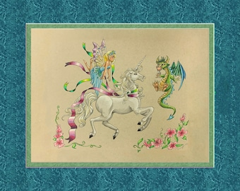 Off the carousel, 8x10 frame size, double faux matted, frame ready, unicorn dragon fairy, carousel unicorn, dancing unicorn, surprised fairy