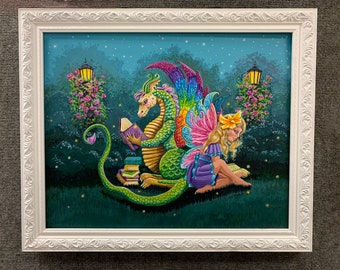 Book Nook, Original, 16x20, OOAK, acrylic, original painting, matted and framed, ready to hang, dragon and fairy, book dragon, book fairy,