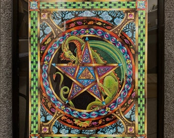 celtic dragon, OOAK, original drawing, prismacolor, colored pencil, drawing, 16x20, matted and frame, dragon interwoven with celtic, dragon,