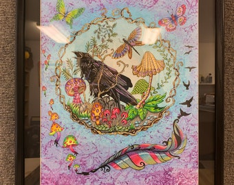 Raven's Mushrooms, Original, 16x20, OOAK, colored pencil ink, original drawing, matted and framed, raven and feather, raven and mushrooms