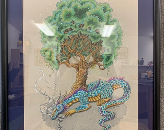 Tree of Life, OOAK, original drawing, prismacolor, colored pencil drawing, 22x26, matted and framed, sleeping dragon, tree of life, dragon