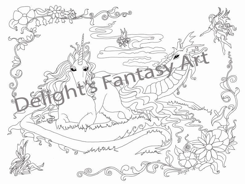 Coloriage Licorne Et Fleurs.Amis De Peu Probable Licorne Et Dragon Coloriage Dragon Et Etsy