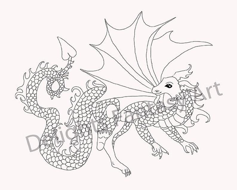 Draak Kleurplaten Zoeken.Fire Dragon Dragon Kunst Kleurplaten Pagina Zwart Wit Etsy
