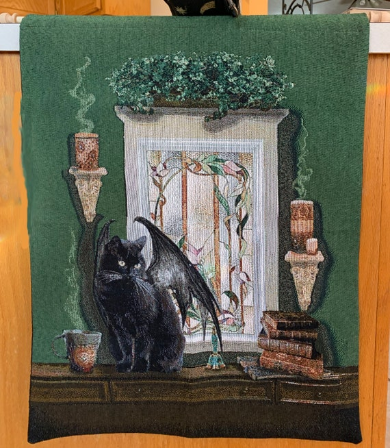 Bell book and candle, tapestry, black cat, winged cat, wiccan, pagan, 18x26  tapestry, wall hanging, magic cat, books, magic, spells, cat
