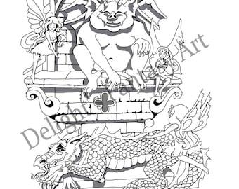 gargoyle, gargoyle and dragon, gargoyle and fairies, dragon and gargoyle, dragon and fairies, gargoyle coloring page
