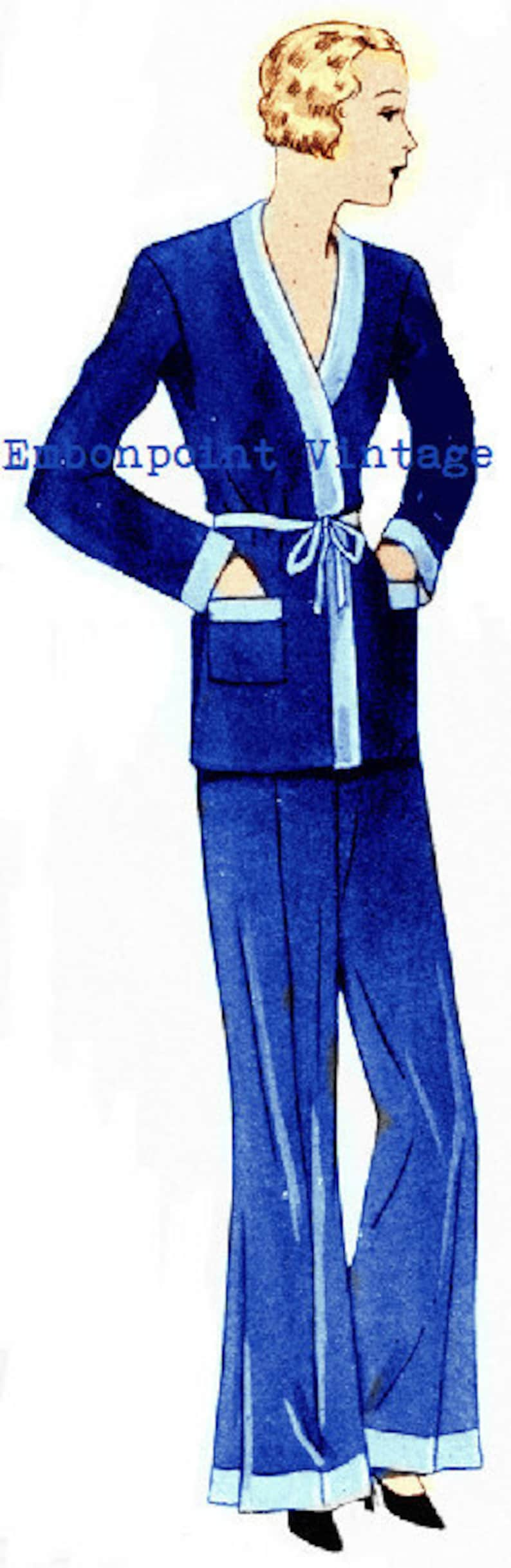 1930s Sewing Patterns- Dresses, Pants, Tops Plus Size (or any size) 1934 Vintage Pyjamas Sewing Pattern - PDF - Pattern No 27 Estella 1930s 30s Instant Download $9.50 AT vintagedancer.com