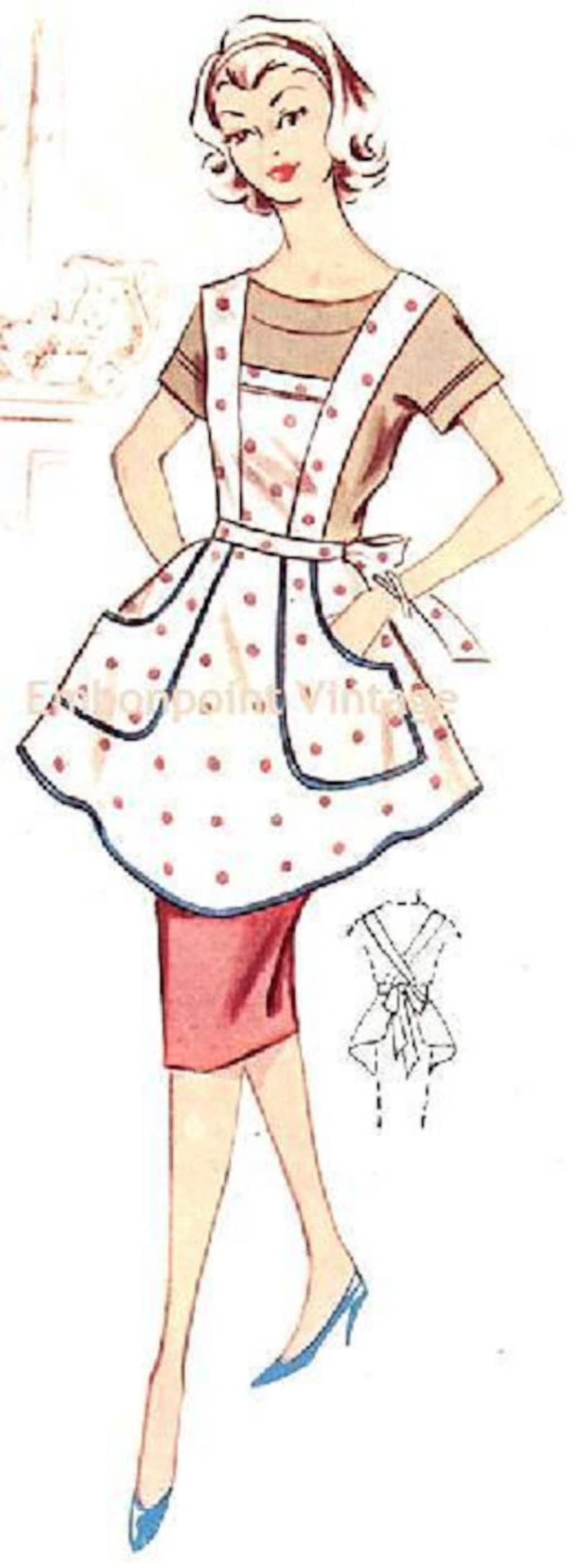 Vintage Aprons, Retro Aprons, Old Fashioned Aprons & Patterns Plus Size (or any size) Vintage 1950s Apron Pattern - PDF - Pattern No 111 Jill 50s Sewing Patterns Instant Download Rockabilly $8.35 AT vintagedancer.com