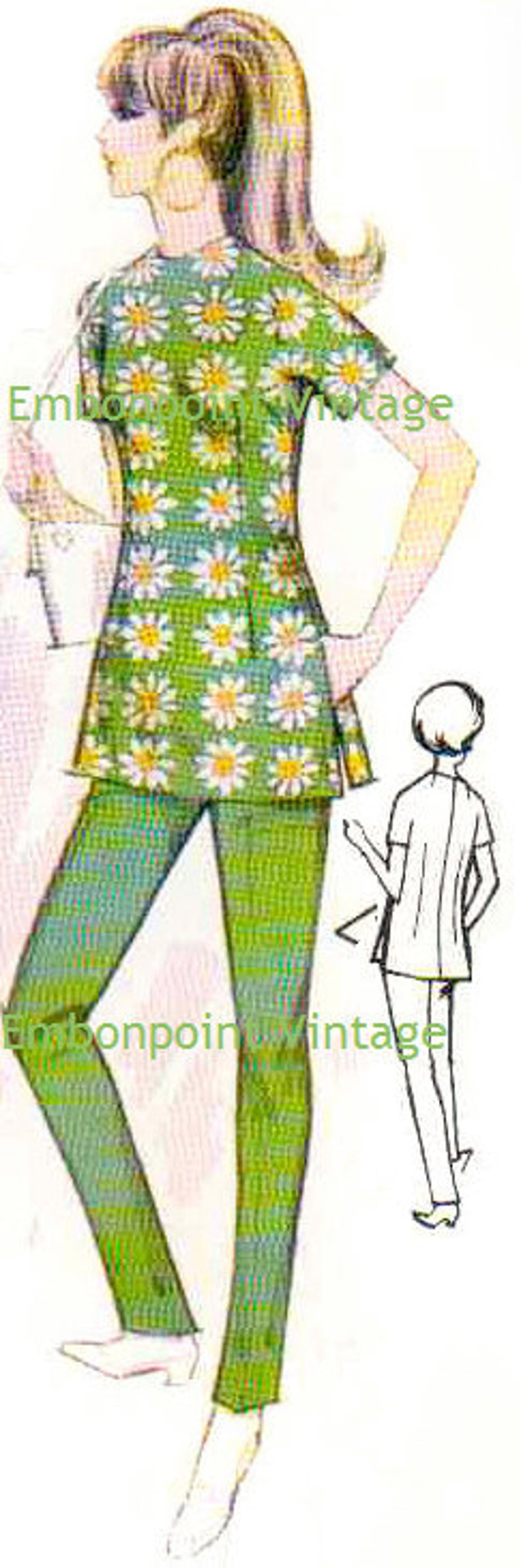 1960s Sewing Patterns | 1970s Sewing Patterns Plus Size (or any size) 1969 Vintage Sewing Pattern - PDF - Pattern No 122 Gwen Pants $6.39 AT vintagedancer.com