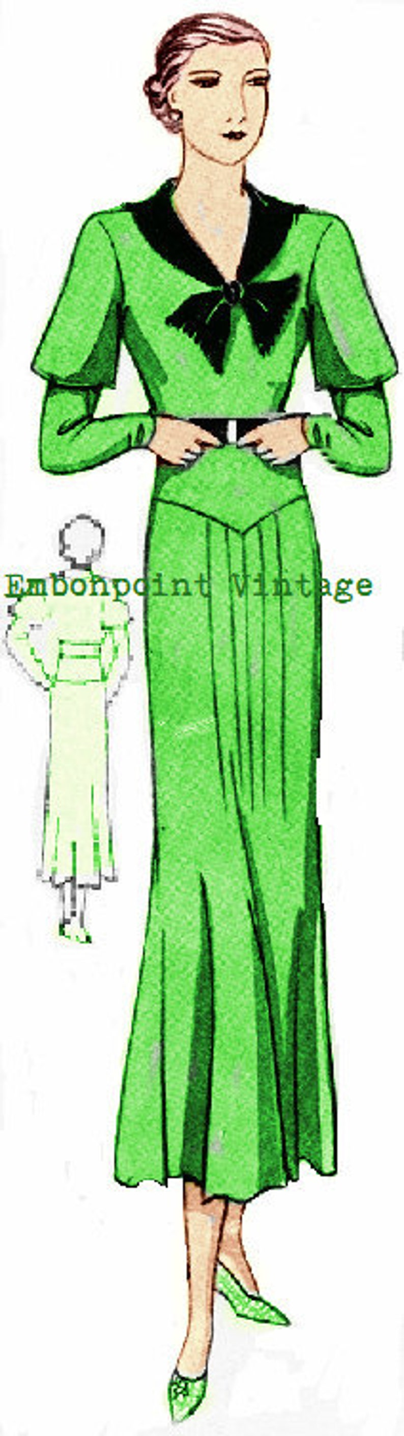 1930s Fashion Colors & Fabric Plus Size (or any size) 1934 Vintage Dress Sewing Pattern - PDF - Pattern No 62 Dorothea 1930s 30s Instant Download $8.35 AT vintagedancer.com