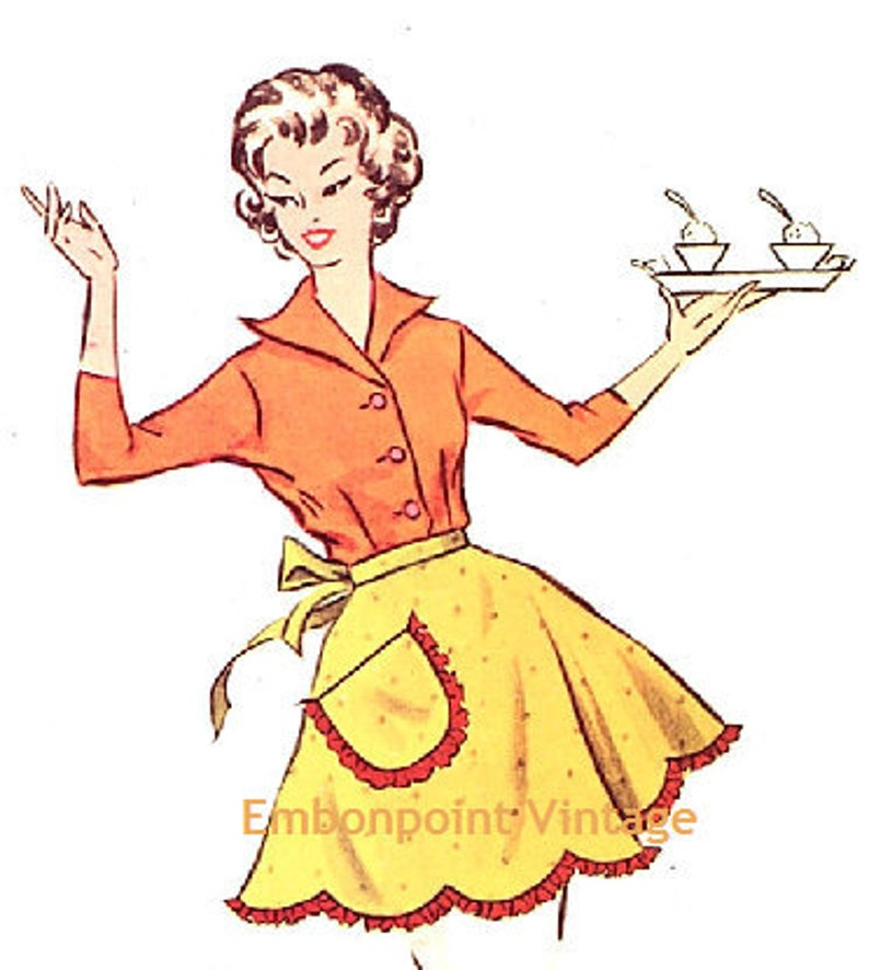Vintage Aprons, Retro Aprons, Old Fashioned Aprons & Patterns Plus Size (or any size) Vintage 1950s Apron Pattern - PDF - Pattern No 107 Marsha $5.41 AT vintagedancer.com
