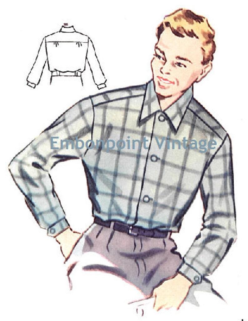 1950s Sewing Patterns | Dresses, Skirts, Tops, Mens Plus Size (or any size) Vintage 1950s Mens Shirt Pattern - PDF - Pattern No 183 Dennis $5.03 AT vintagedancer.com