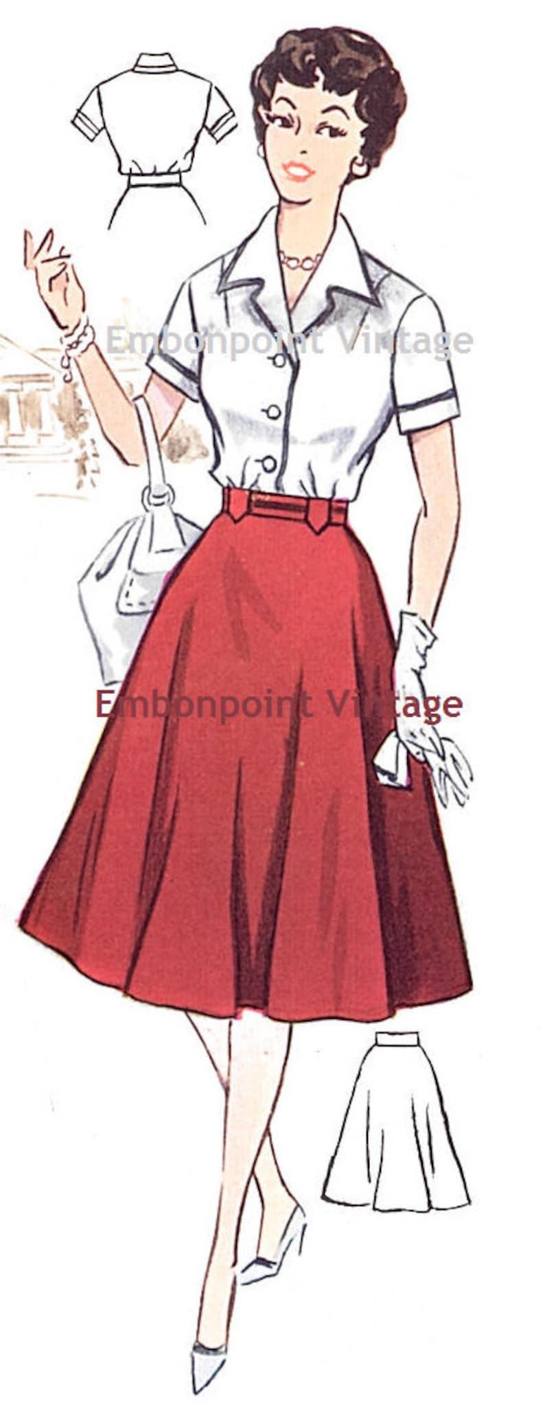 1950s Sewing Patterns | Dresses, Skirts, Tops, Mens Vintage 1950s Skirt Pattern - PDF - Pattern No 64b Vicki Skirt $6.33 AT vintagedancer.com