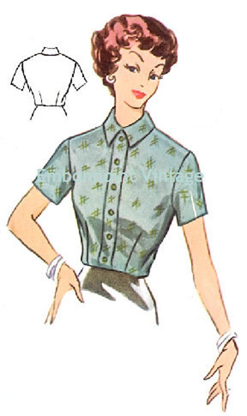 1950s Sewing Patterns | Dresses, Skirts, Tops, Mens Vintage 1950s Blouse Pattern - PDF - Pattern No 106 Anna 50s Fashion Sewing Instant Download $6.33 AT vintagedancer.com