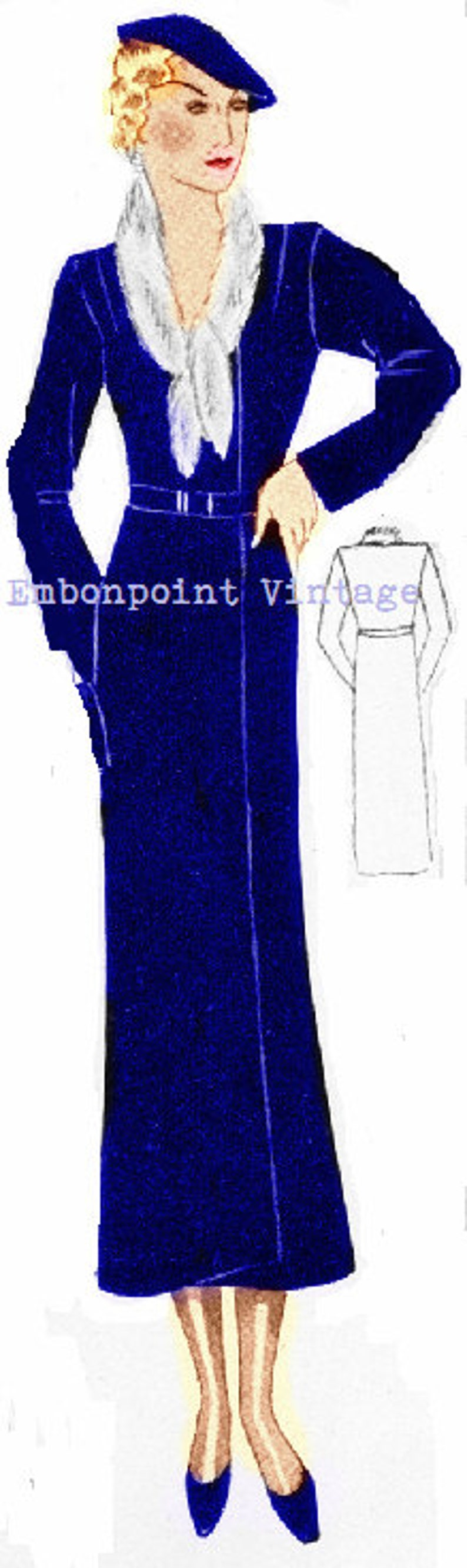 1930s Sewing Patterns- Dresses, Pants, Tops Plus Size (or any size) 1934 Vintage Coat Sewing Pattern - PDF - Pattern No 69 Olive 1930s 30s Instant Download $9.34 AT vintagedancer.com