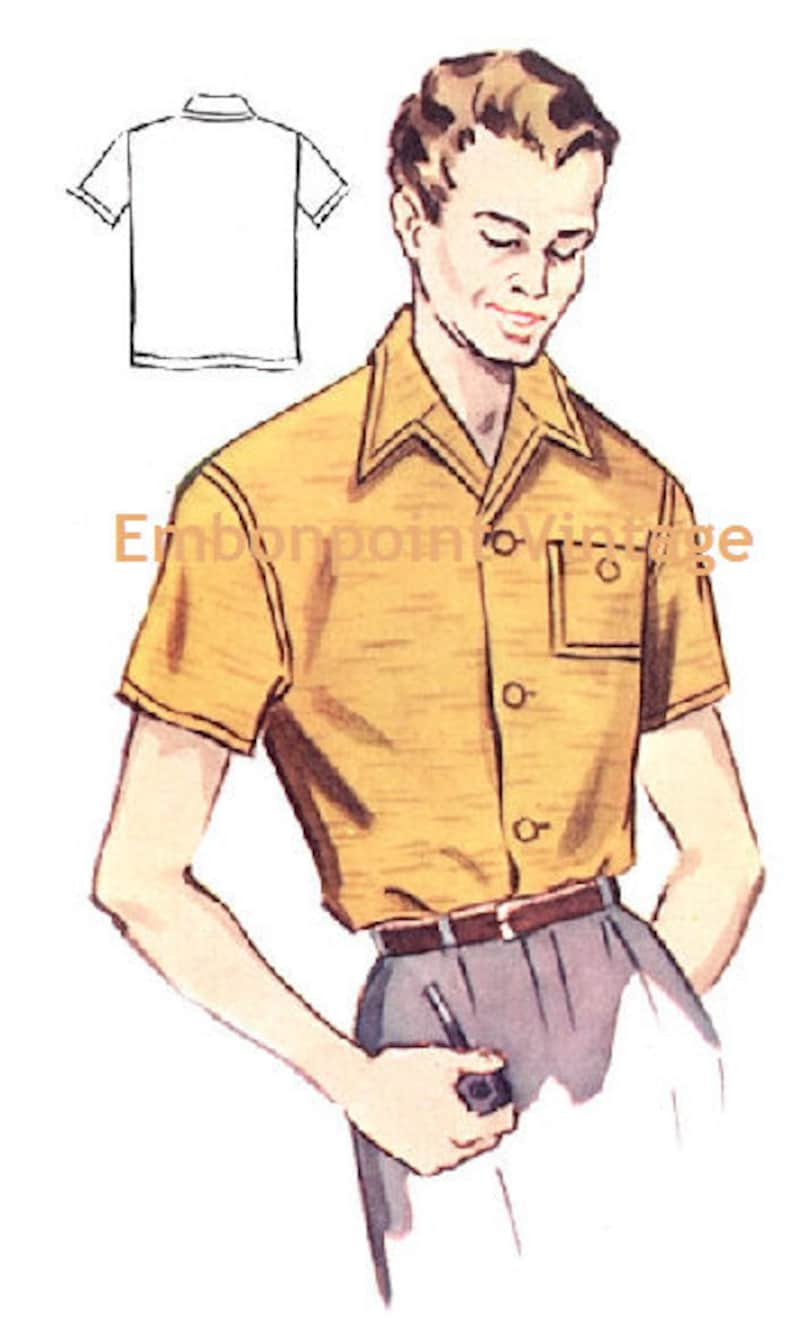 1950s Sewing Patterns | Dresses, Skirts, Tops, Mens Plus Size (or any size) Vintage 1950s Mens Shirt Pattern - PDF - Pattern No 182 Larry 50s $4.38 AT vintagedancer.com