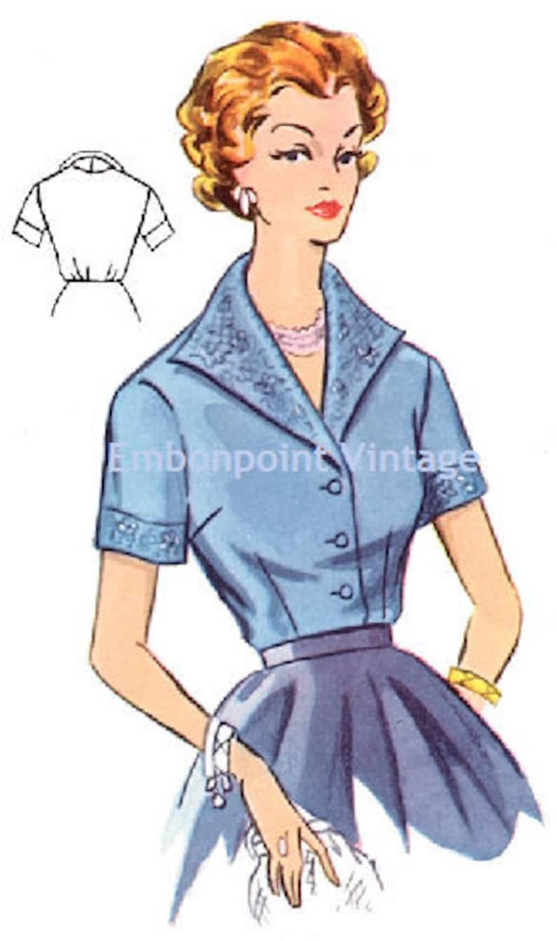 1950s Sewing Patterns | Dresses, Skirts, Tops, Mens Plus Size (or any size) Vintage 1950s Blouse Pattern - PDF - Pattern No 104 Wendy $6.39 AT vintagedancer.com