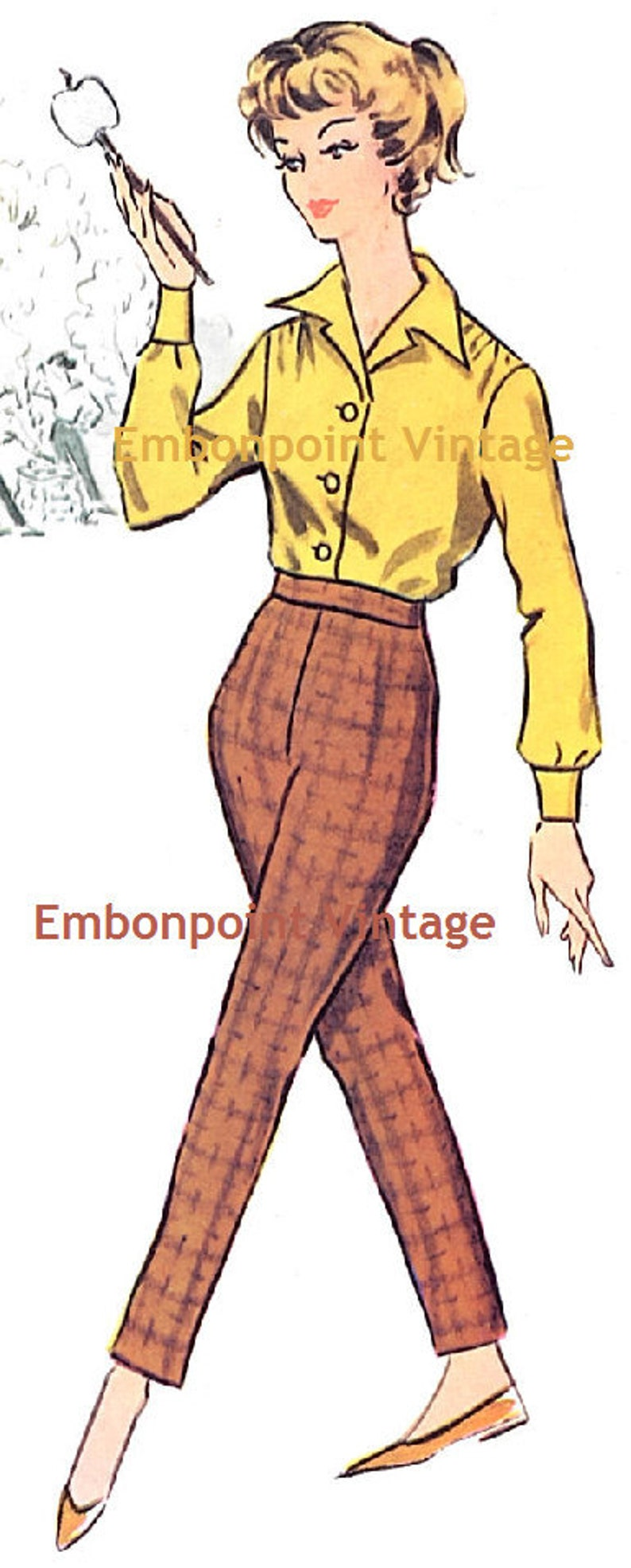 1950s Fabrics & Colors in Fashion Vintage 1950s Pants Pattern - PDF - Pattern No 92 Victoria Pants $6.33 AT vintagedancer.com
