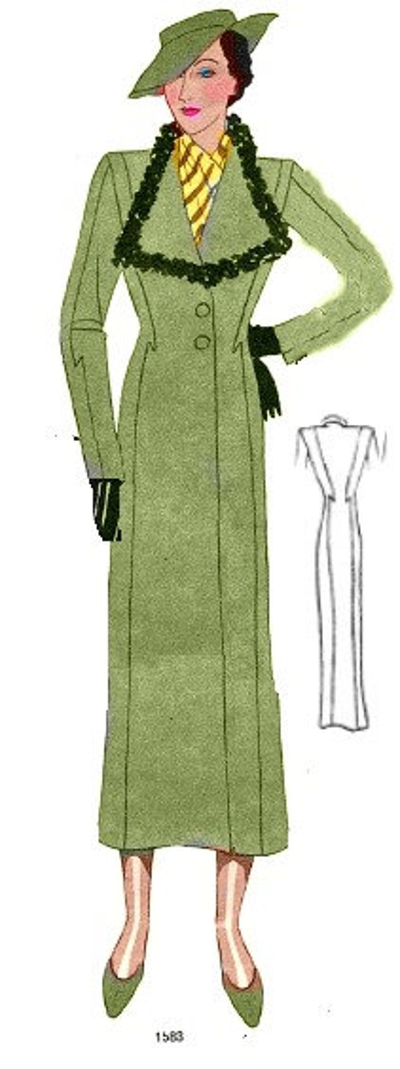 1930s House Dresses Plus Size (or any size) Vintage 1934 Coat Jacket Sewing Pattern - PDF - Pattern 1583 Concetta 1930s 30s Patterns Instant Download $8.35 AT vintagedancer.com