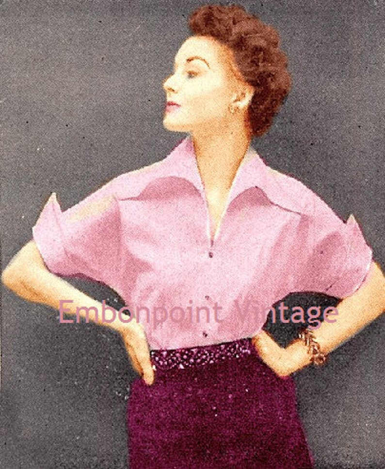 1950s Sewing Patterns | Dresses, Skirts, Tops, Mens Plus Size (or any size) Vintage 1949 Blouse Sewing Pattern - PDF - Pattern No 48 Fannie $5.41 AT vintagedancer.com