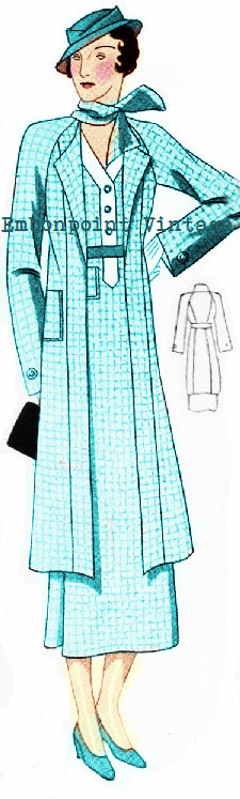 1930s Sewing Patterns- Dresses, Pants, Tops Plus Size (or any size) 1934 Vintage Suit Ensemble Sewing Pattern - PDF - Pattern No 73 Effie 1930s 30s Patterns Instant Download $13.97 AT vintagedancer.com