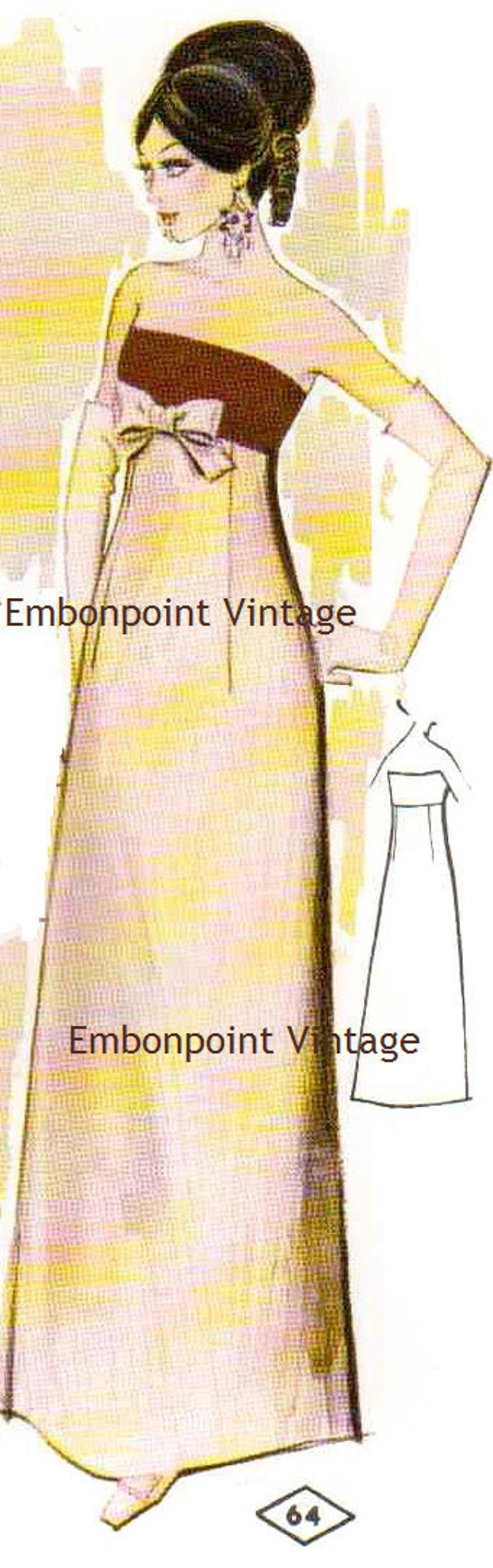 1960s – 70s Sewing Patterns- Dresses, Tops, Pants, Men's Plus Size (or any size) Vintage 1969 Dress Pattern - PDF - Pattern No 64 Caroline $9.34 AT vintagedancer.com