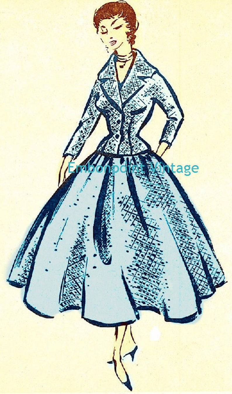 1950s Fabrics & Colors in Fashion Plus Size (or any size) Vintage 1949 Skirt Suit Sewing Pattern - PDF - Pattern No 59 Melba $10.32 AT vintagedancer.com