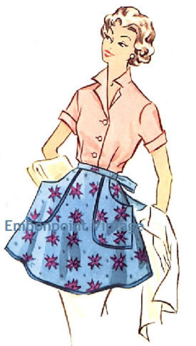 Vintage Aprons, Retro Aprons, Old Fashioned Aprons & Patterns Vintage 1950s Apron Pattern - PDF - Pattern No 109 Sarah $5.35 AT vintagedancer.com