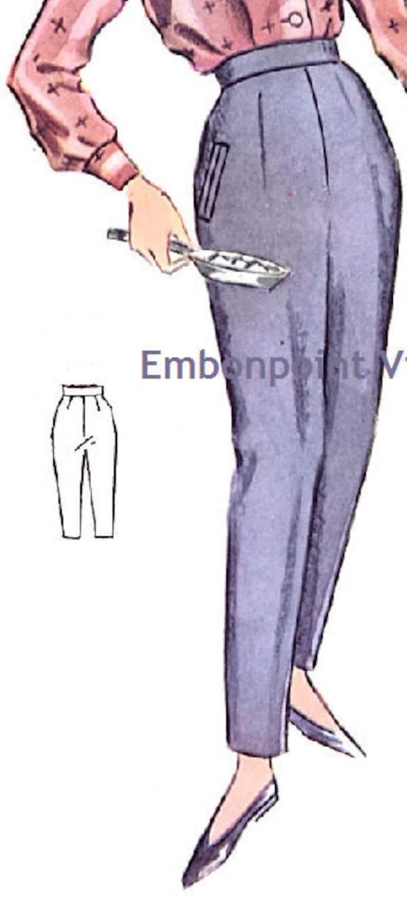 1950s Sewing Patterns | Dresses, Skirts, Tops, Mens Vintage 1950s Slacks Pattern - PDF - Pattern No 91b Marie Pants $6.33 AT vintagedancer.com