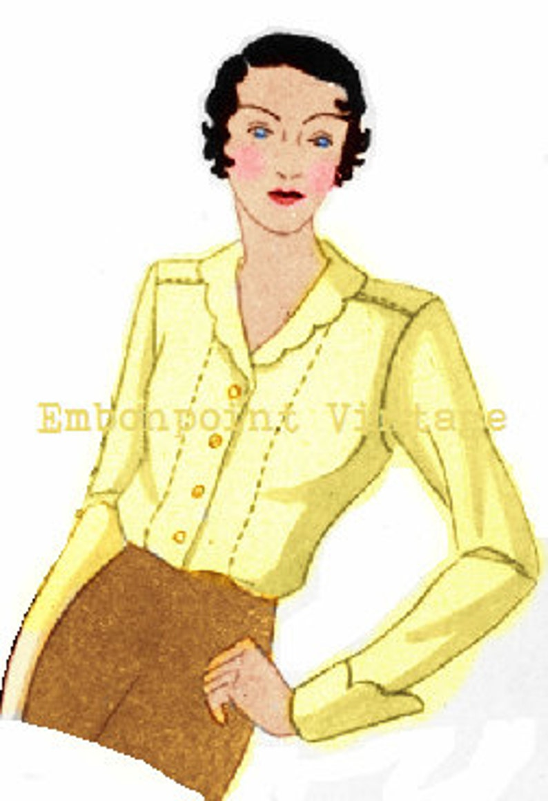 1930s House Dresses Plus Size (or any size) Vintage 1934 Blouse Pattern - PDF - Pattern No 95 Lorna 1930s 30s Patterns Instant Download $7.37 AT vintagedancer.com