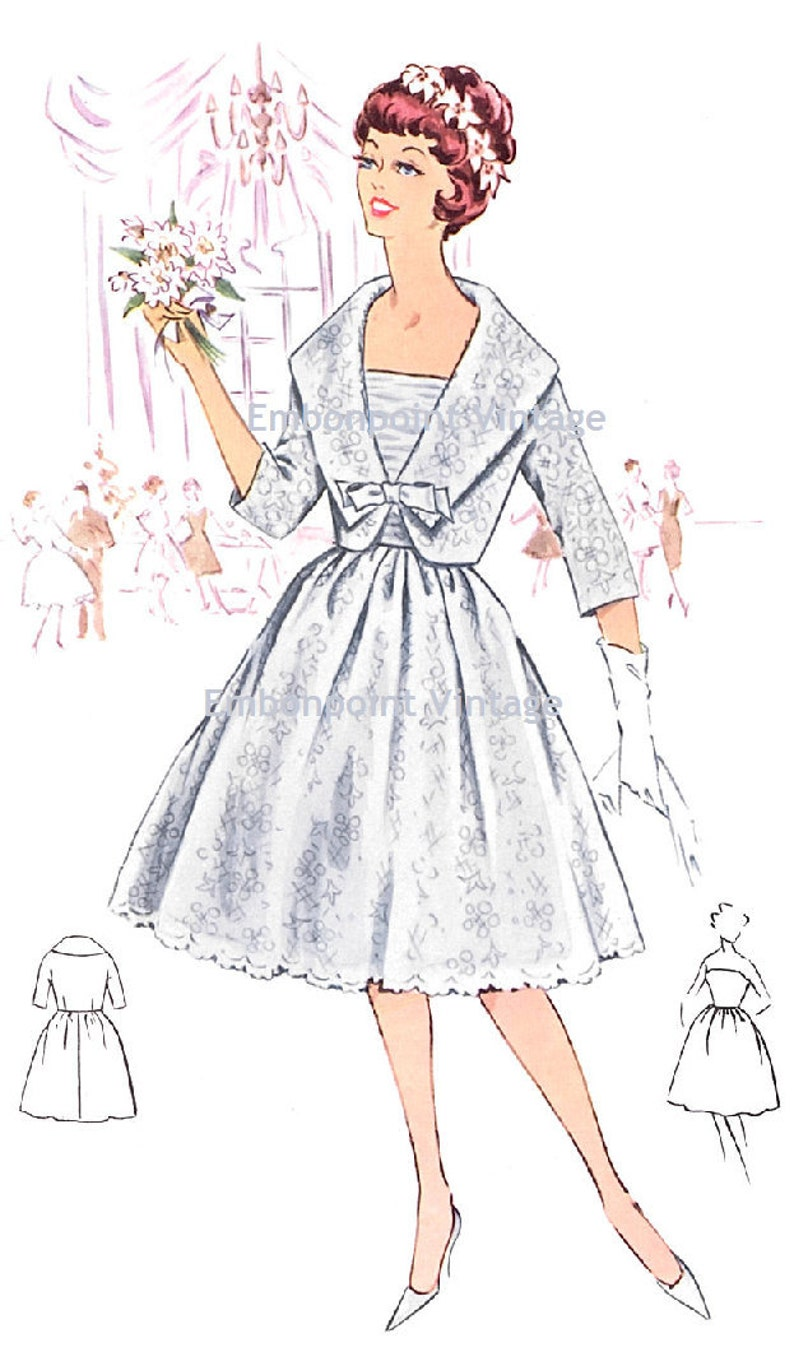 50s Wedding Dress, 1950s Style Wedding Dresses, Rockabilly Weddings Plus Size (or any size) Vintage 1950s Wedding Dress and Jacket Pattern - PDF - Pattern No 118 Eileen $9.34 AT vintagedancer.com