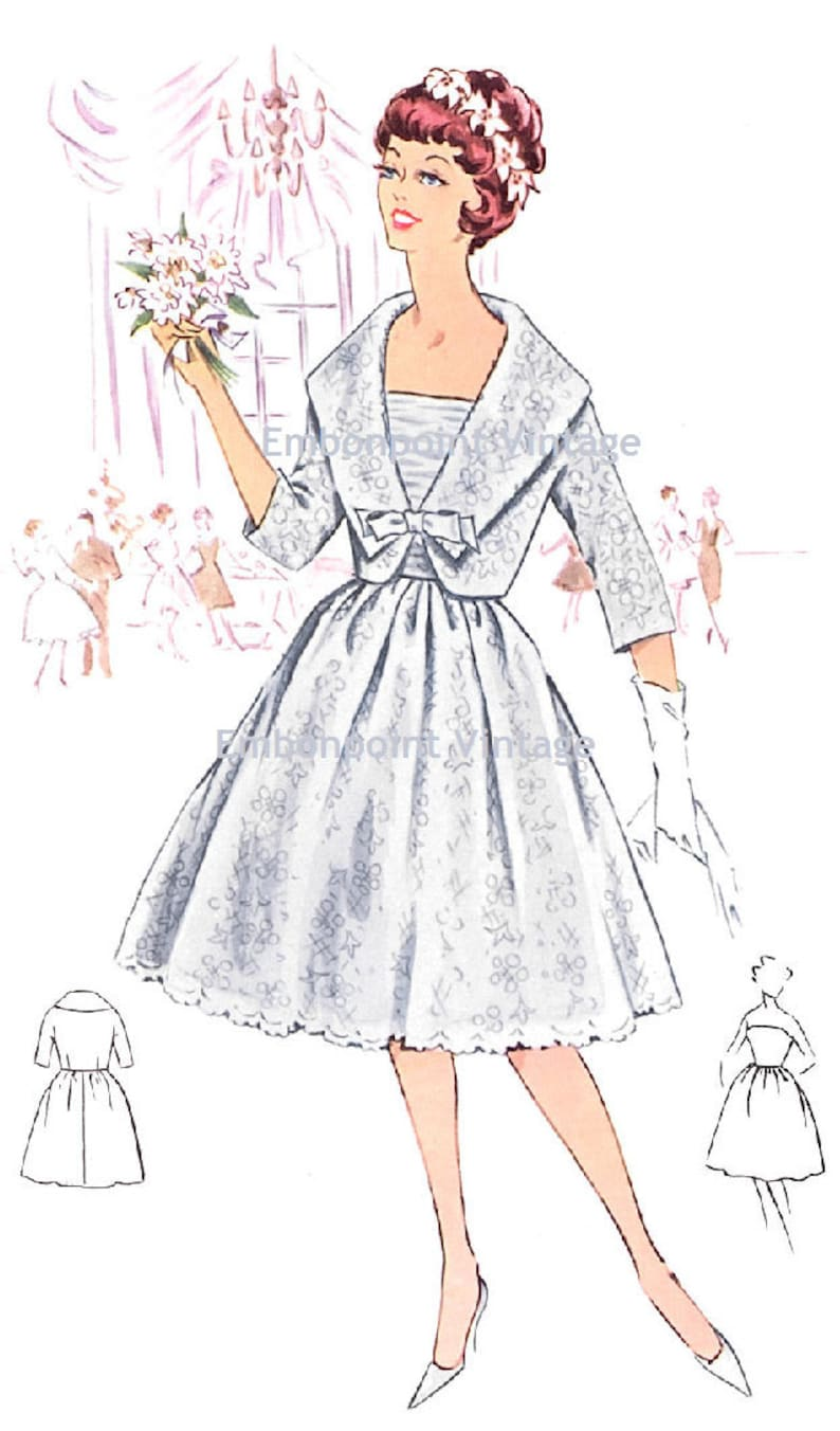 1950s Sewing Patterns | Dresses, Skirts, Tops, Mens Plus Size (or any size) Vintage 1950s Wedding Dress and Jacket Pattern - PDF - Pattern No 118 Eileen $9.34 AT vintagedancer.com
