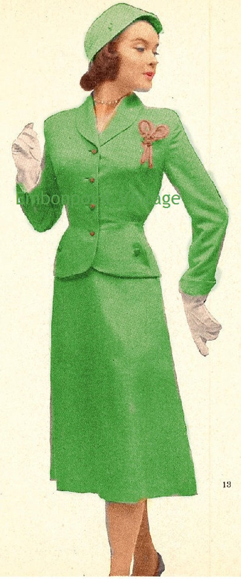 1950s Fabrics & Colors in Fashion Plus Size (or any size) Vintage 1949 Suit Sewing Pattern - PDF - Pattern No 13 Deloris $9.34 AT vintagedancer.com