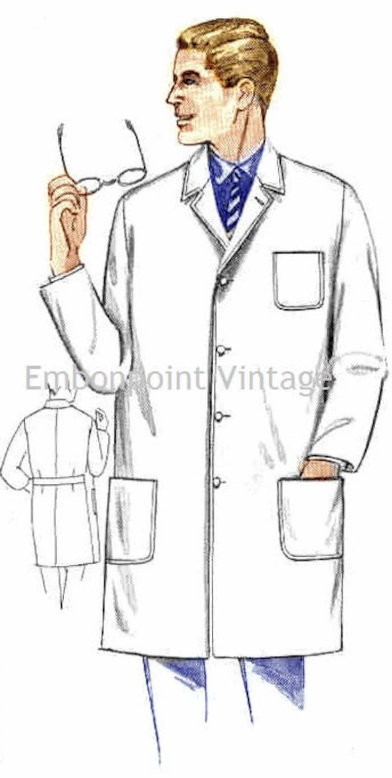 1950s Sewing Patterns | Dresses, Skirts, Tops, Mens Plus Size (or any size) Vintage 1969 Mens Lab Coat Pattern - PDF - Pattern No 148 Bradley 1960s 60s $9.50 AT vintagedancer.com