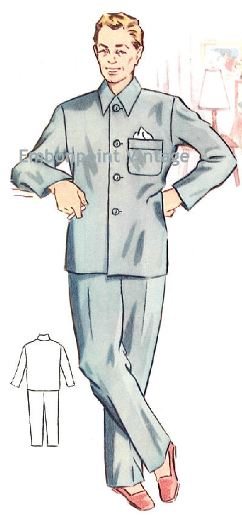 1950s Sewing Patterns | Dresses, Skirts, Tops, Mens Plus Size (or any size) Vintage 1950s Mens Pyjama Shirt Pattern - PDF - Pattern No 185a Edward Pyjama Shirt $8.38 AT vintagedancer.com