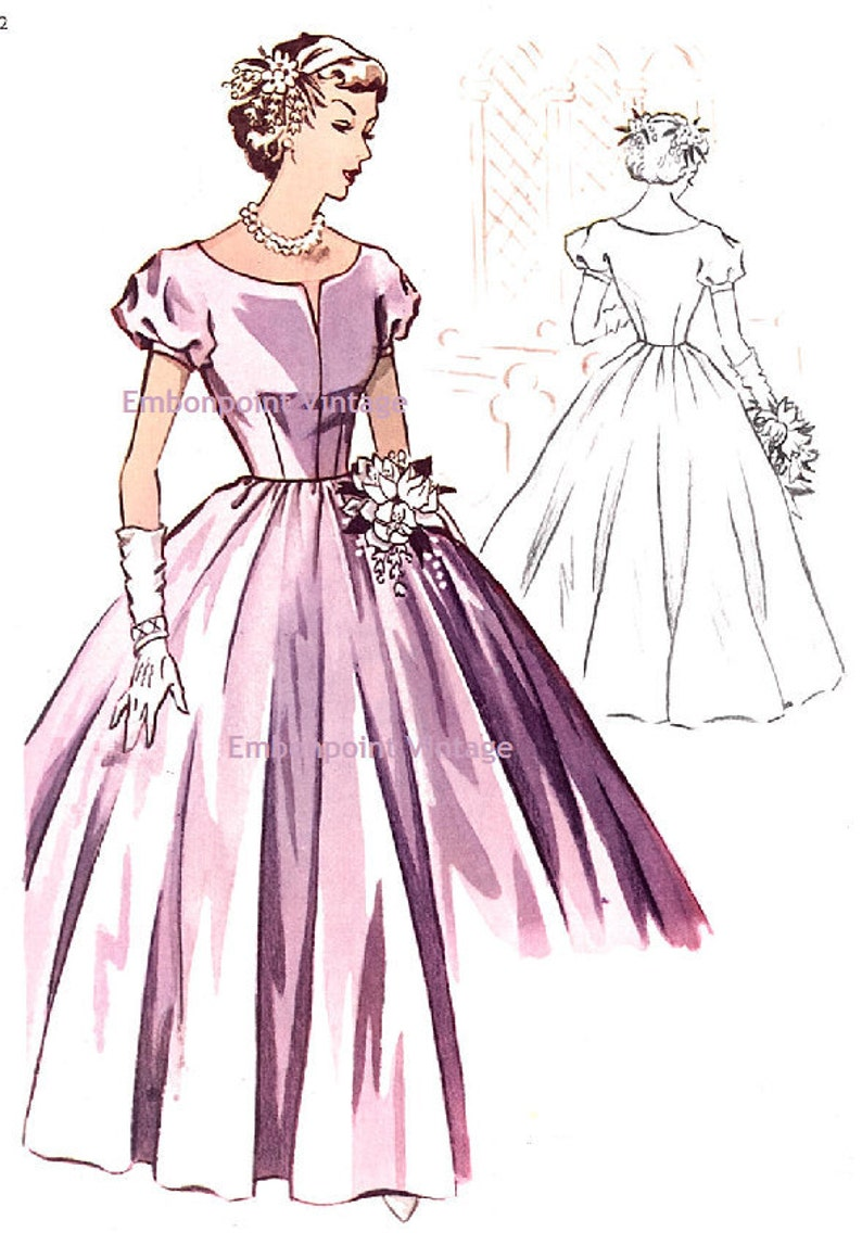 1950s Sewing Patterns | Dresses, Skirts, Tops, Mens Plus Size (or any size) Vintage 1950s Bridesmaid Dress Pattern - PDF - Pattern No 116 Jeanne $8.35 AT vintagedancer.com