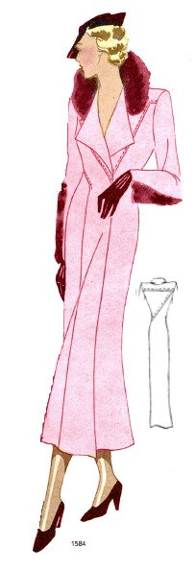1930s Sewing Patterns- Dresses, Pants, Tops Plus Size (or any size) Vintage 1934 Dress Sewing Pattern - PDF - Pattern 1584 Delphine 1930s 30s Patterns Instant Download $8.35 AT vintagedancer.com