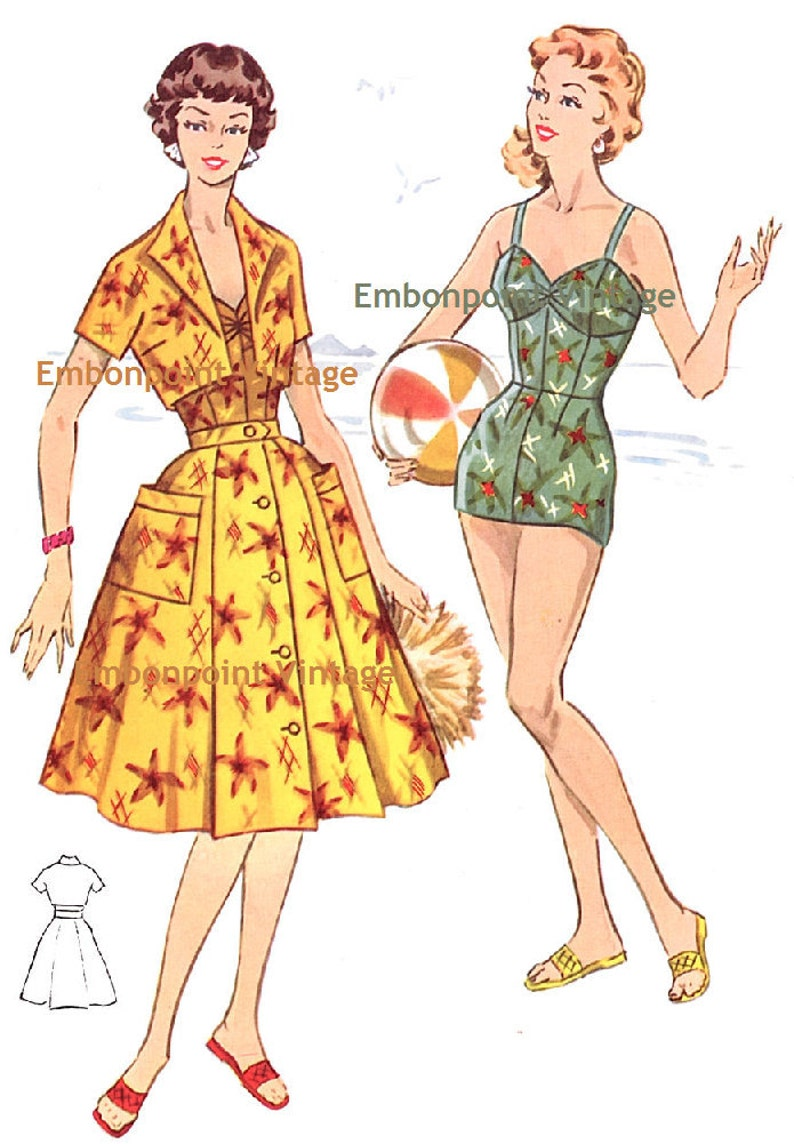 1950s Sewing Patterns | Dresses, Skirts, Tops, Mens Vintage 1950s Beach Skirt Pattern - PDF - Pattern No 124b Yvonne $6.33 AT vintagedancer.com