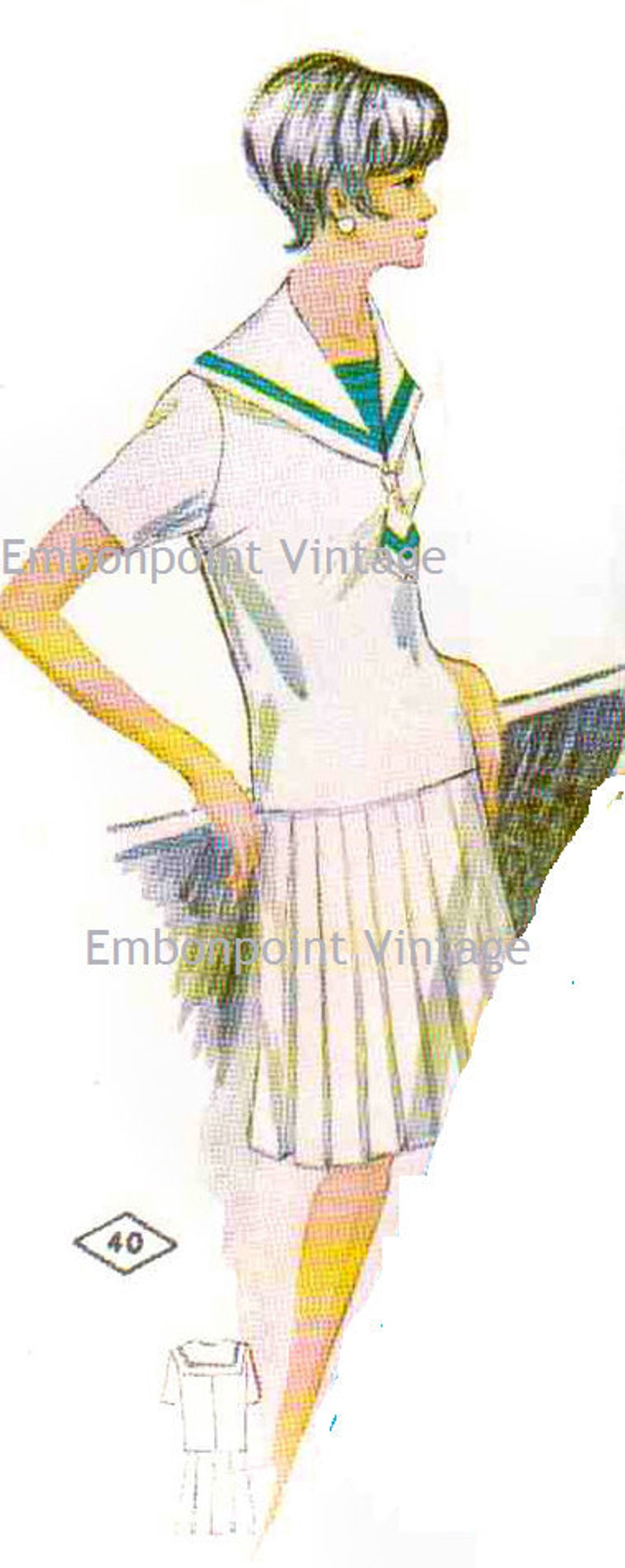 1920s Patterns – Vintage, Reproduction Sewing Patterns Vintage 1969 Shirt Pattern - PDF - Pattern No 40b Trina Skirt $5.35 AT vintagedancer.com