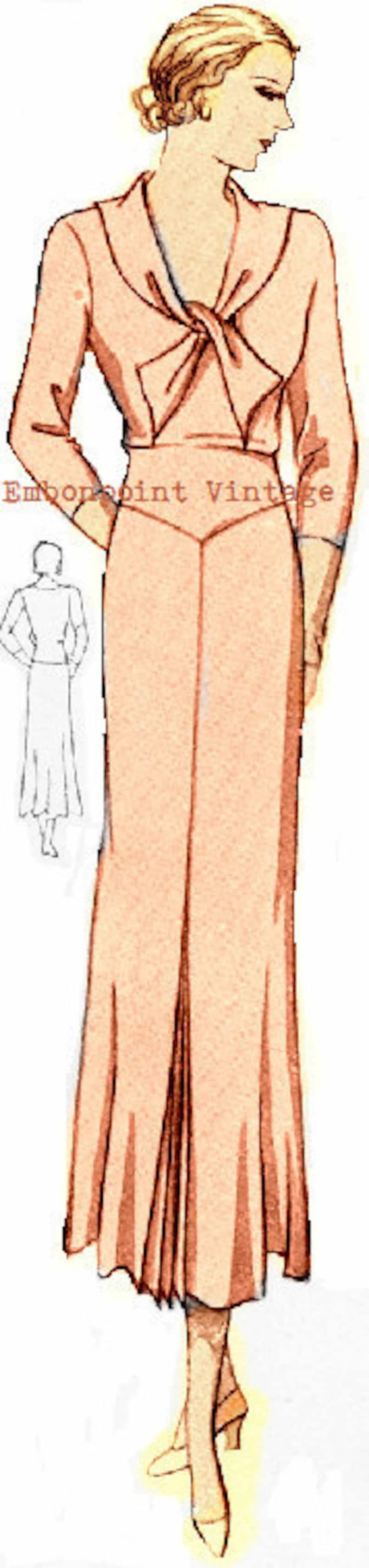 1930s Vintage Dresses, Clothing & Patterns Links Plus Size (or any size) 1934 Vintage Dress Sewing Pattern - PDF - Pattern No 63 Cleo 1930s 30s Instant Download $8.35 AT vintagedancer.com