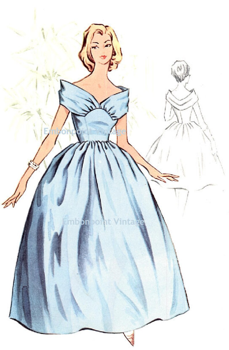 1950s Sewing Patterns | Dresses, Skirts, Tops, Mens Plus Size (or any size) Vintage 1950s Bridesmaid Dress Pattern - PDF - Pattern No 117 Charlotte 50s Fashion Sewing Instant Download $9.34 AT vintagedancer.com