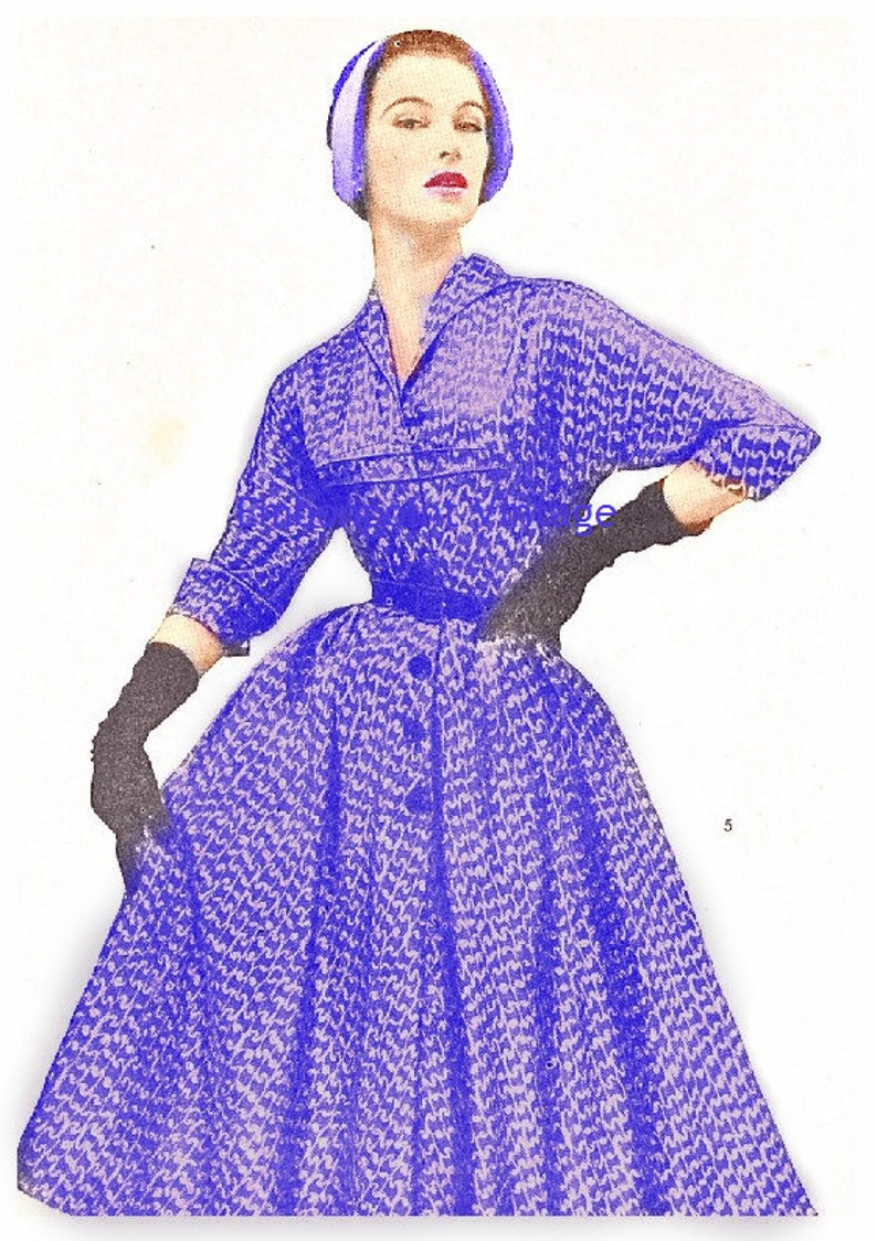 1950s Sewing Patterns | Dresses, Skirts, Tops, Mens Plus Size (or any size) Vintage 1949 Dress Sewing Pattern - PDF - Pattern No 5 Dixie $8.35 AT vintagedancer.com