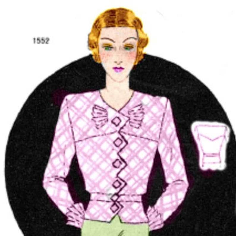 1930s Fashion Colors & Fabric Plus Size (or any size) Vintage 1934 Blouse Pattern - PDF - Pattern No 1552 Virgie Instant Download 1930s 30s Patterns $7.37 AT vintagedancer.com