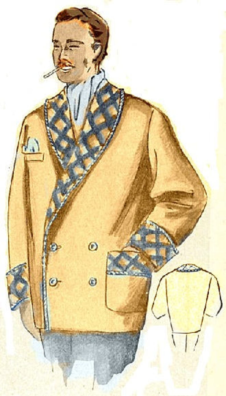 1950s Men's Clothing Plus Size (or any size) Vintage 1949 Mens Smoking Jacket Sewing Pattern - PDF - Pattern No 100 Rufus 1940s 40s 1950s 50s $12.18 AT vintagedancer.com