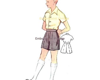 Plus Size (or any size) Vintage 1950s Boy's Shorts Pattern - PDF - Pattern No 171b Charles Shorts
